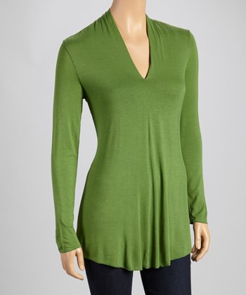 Leaf Split Neck Long-Sleeve Top