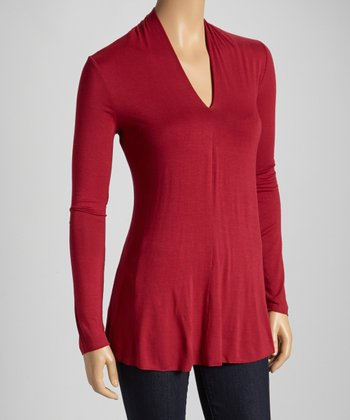 Lipstick Split Neck Long-Sleeve Top