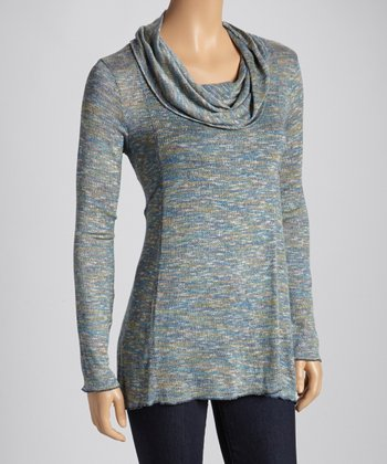 Peacock Heather Long-Sleeve Cowl Neck Top