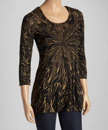 Black & Gold Crackle Three-Quarter Sleeve Top
