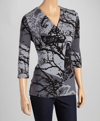 Gray Branches Three-Quarter Sleeve Surplice Top