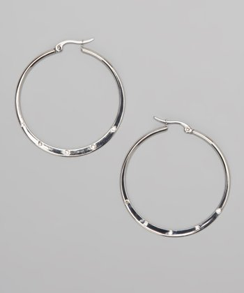 Silver Simulated Diamond Flat Hoops