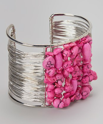 Silver & Fuchsia Beaded Wire Cuff