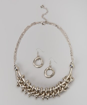 Rhodium Coil Necklace & Earrings