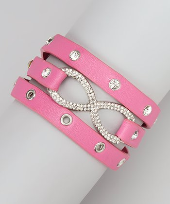 Fuchsia Infinity Faux Leather Wrap Bracelet