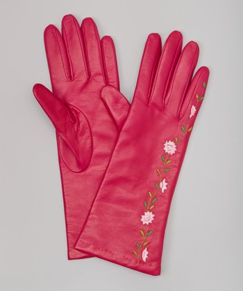 Hot Pink Floral Embroidered Cashmere-Lined Leather Gloves