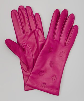 Clover Floral Leather Gloves