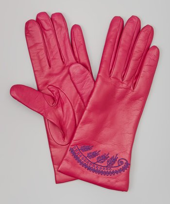 Hot Pink & Purple Embroidered Leather Gloves
