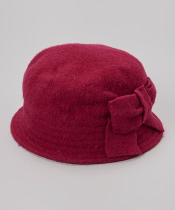 Fuchsia Bow Wool Hat