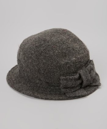 Gray Bow Wool Hat
