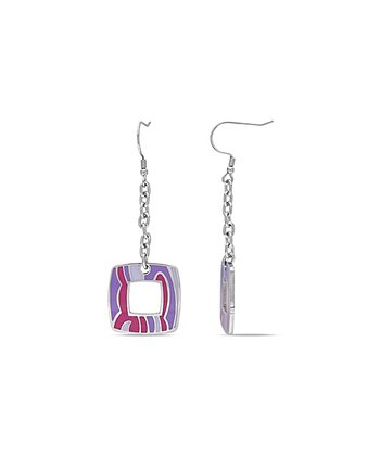 Pink & Purple Abstract Square Drop Earrings