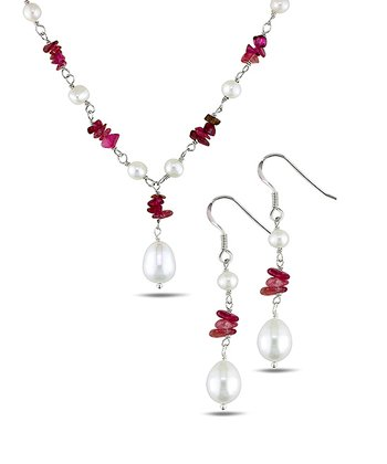 Freshwater Pearl & Sterling Silver Necklace & Earrings