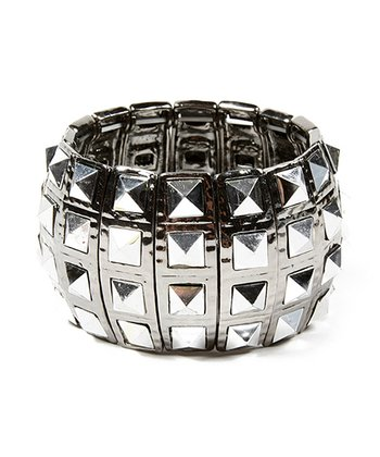 Gunmetal Pyramid Stretch Cuff