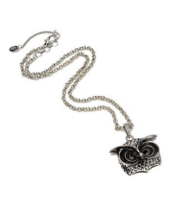 Antique Silver & Crystal Owl Eye Pendant Necklace