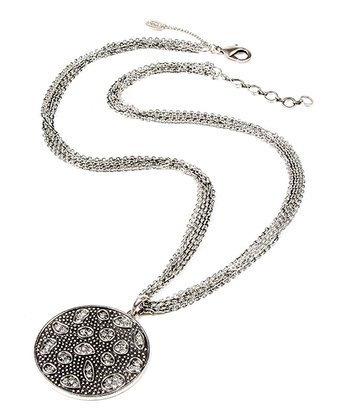 Antique Silver & Crystal Bali Necklace