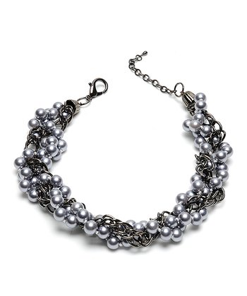 Gunmetal & Gray Faux Pearl Charlotte Necklace