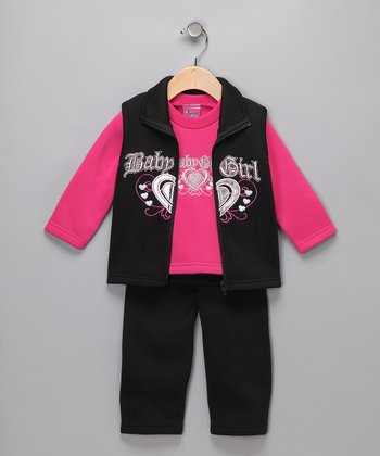 Black & Pink 'Baby Girl' Set - Infant