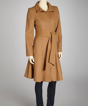 Camel Wool-Blend Trench Coat