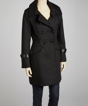 Black Wool-Blend Peacoat - Women