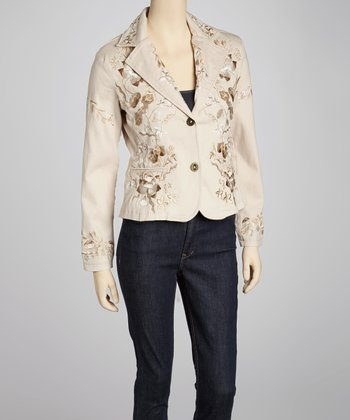 Natural Floral Embroidered Jacket