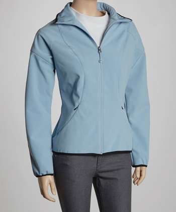 Periwinkle Soft-Shell Track Jacket - Women