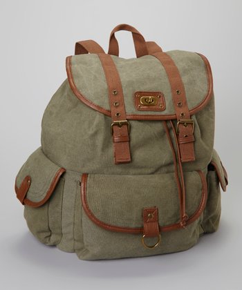 Olive Canvas Drawstring Backpack