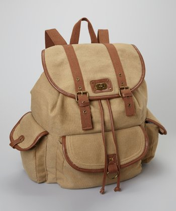 Khaki Canvas Drawstring Backpack