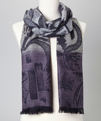 Black & Gray Abstract Silk-Blend Scarf