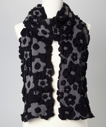 Black & Gray Floral Scarf