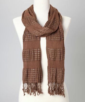 Rust & Metallic Stripe Scarf
