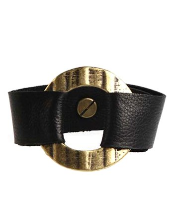 Black & Antique Gold Leather Bracelet