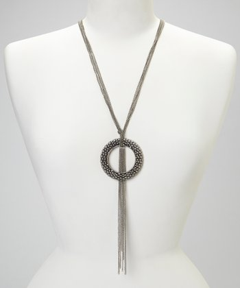 Silver Open Doughnut Pendant Necklace