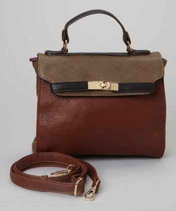 Brown & Burgundy Color Block Messenger Bag