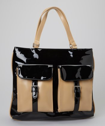 Black & Natural Patent Tote