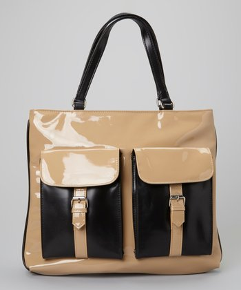 Natural & Black Patent Tote