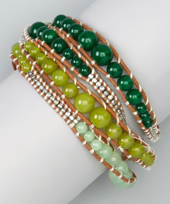 Natural Tan & Olive Leather Wrap Bracelet