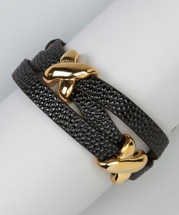 Gold & Black X Leather Wrap Bracelet