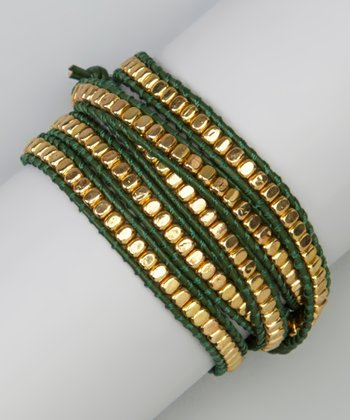 Gold Bead & Green Leather Wrap Bracelet