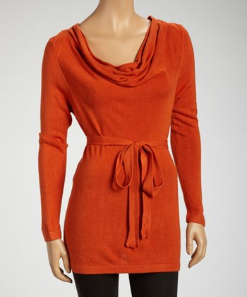 Orange Belted Cowl Neck Tunic