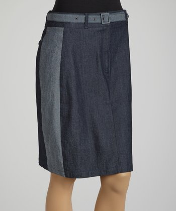 Navy Color Block Denim Belted Skirt