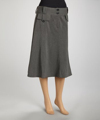 Charcoal Gray Herringbone A-Line Skirt