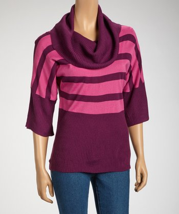 Berry Cowl Neck Dolman Top