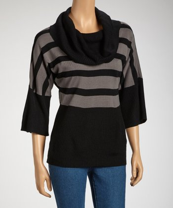 Black Cowl Neck Dolman Top