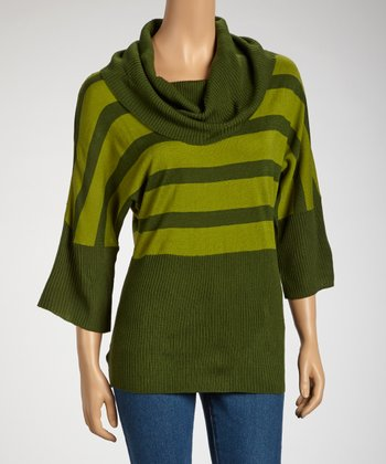Green Cowl Neck Dolman Top