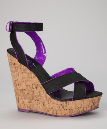 Black & Purple Cork Wedge