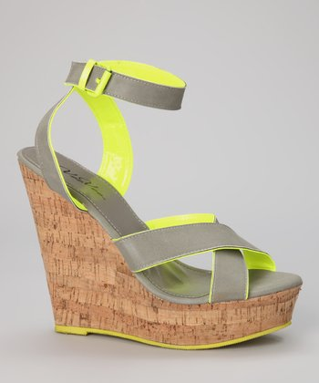 Gray & Lime Cork Wedge