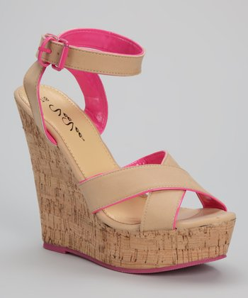 Tan & Fuchsia Cork Wedge