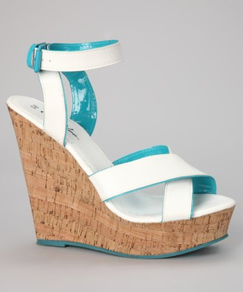 White & Turquoise Cork Wedge