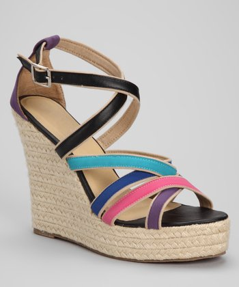 Black & Purple Cross-Strap Espadrille