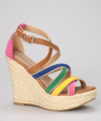 Tan & Pink Cross-Strap Espadrille